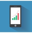 Smart phone with increasing bar chart on the vector