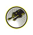 Panther big cat growling circle vector