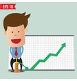 Cartoon business man pump graph - - eps10 vector