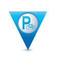 Parking bicycle symbol map pointer blue vector