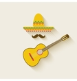 Mexican sombrero and guitar vector