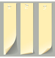 Three vertical numbered paper banners vector