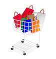 Colorful paper shopping bags in shopping cart vector