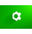 Flat soccer ball flying through the green grass vector