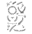 Set of floral hand drawn doodles vector
