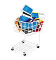Six colors of laptop computer in shopping cart vector
