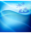 Water wave and island with palm trees in sunny day vector