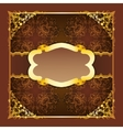 Royal frame with ribbons on seamless ornament vector