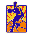 Basketball player dribbling ball retro vector