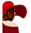 Beautiful girl with red hat vector