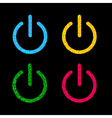 Power button icon set black background polygonal vector
