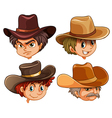 Different faces of four cowboys vector