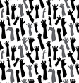 Seamless pattern of silhouette set of hands vector