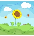 Country landscape with sunflowers and clouds vector