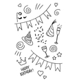 Set of hand drawn doodles birthday theme vector
