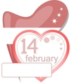 Valentine calendar icon love heart invitation card vector