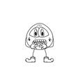 Emoticon frightened sketch vector