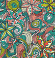 Floral pattern with colorful blooming flowers and vector