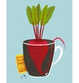 Growing beetroot with green leafy top in mug vector