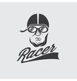 Racer head vintage vector