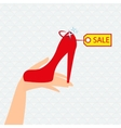 Red shoe presentation for sale vector