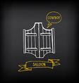 Western saloon door sketch design vector