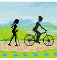 Actively spend the day - nordic walking and riding vector