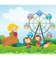 An empty signboard with kids near a ferris wheel vector