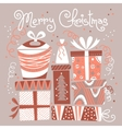 Christmas card with gift boxes vector