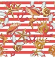 Summer seamless pattern with sea shells anchor vector