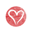 Heart icon with pixel print halftone dots texture vector