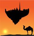 Dubai silhouette flying island vector