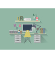 Flat icon working table vector