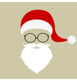 Santa hat mustache beard and glasses vector