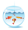 Fishing in fishbowl vector