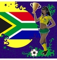 Football poster with girl and south african flag vector