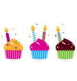 Birthday cakes collection isolated on white vector