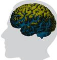 Digital brain in color vector