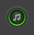 Glossy dark circle music button vector
