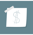 Adhesive notes with scotch and dollar sign vector