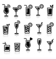 Cocktails drinks glasses icons set vector