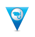 Snorkel and mask symbol map pointer blue vector