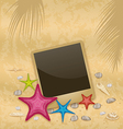 Vintage background with photo frame starfishes vector
