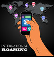 Mobile phone international roaming vector
