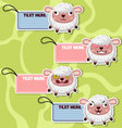 Four cute cartoon sheeps stickers vector