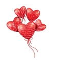 Red hearts-balloons in the blue sky vector