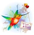Rainbow humming-bird with valentines card vector