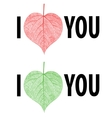 I love you lettering stylish text with leaf vector