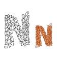 Alphabet letter n in organic leaves font vector