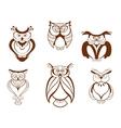Set of cartoon owl birds vector